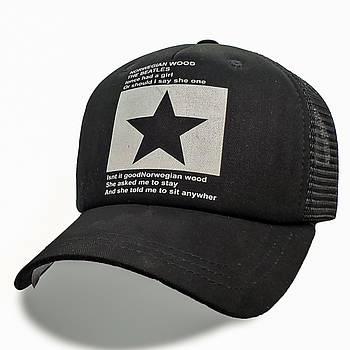 Модная летняя кепка Street Star ✫ The Beatles (зелено-черная) Тракер звезда черно-белый