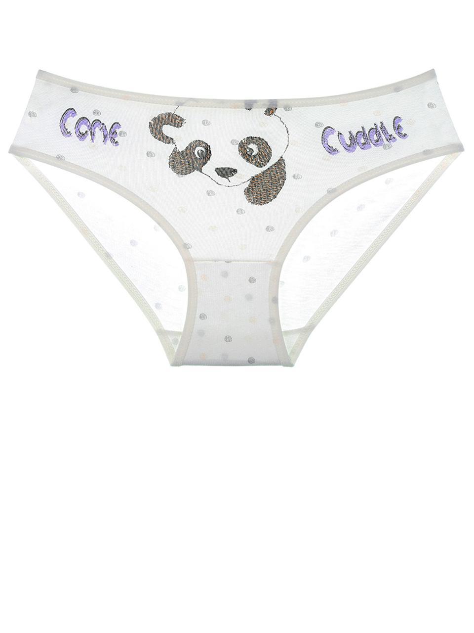 Трусики для девочки с рисунком панды Молочный, фиолетовый 104-110 (4-5 лет) Donella Турция