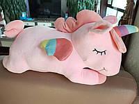 Подушка - игрушка единорог с пледом внутри 3в1 | Розовый единорог с пледом | Мягкая подушка игрушка