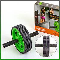 Фитнес колесо,Колесо гимнастическое Ролик для пресса Тренажер-колесо для пресса двойное с ковриком,