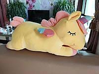 Подушка - игрушка единорог с пледом внутри 3в1 | Желтый единорог с пледом | Мягкая подушка игрушка