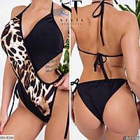 Леопардовый слитный женский купальник арт 1089