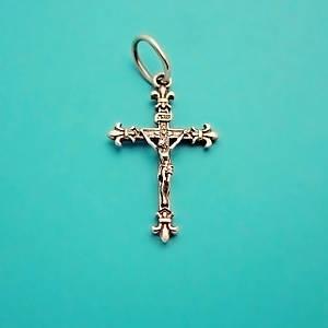 Крест серебряный католический, нательный крестик из серебра 925 пробы (32 х 17 мм, 1.3 г)