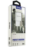 Зарядний пристрій USB inkax CD-27 1USB 2,1A White + шнур micro-usb