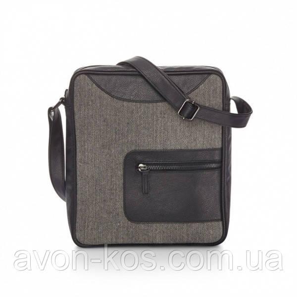 Мужская  черная сумка через плече  (68351)