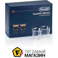 Прозрачный набор стаканов для кофе без рисунка - Delonghi Essential Collection 6шт. (DLSC300) ( двойные стенки ) - материал стекло