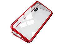 Магнітний чохол для iPhone XR з загартованого скла Без переднего стекла Червоний
