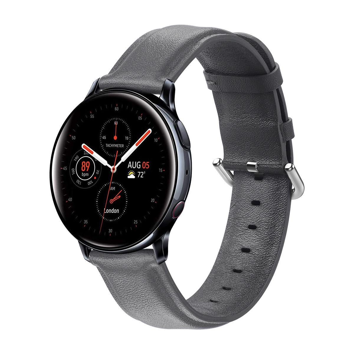 Ремешок кожаный 20мм BeWatch для Samsung Active | Active 2 | Galaxy watch 42mm L Серый