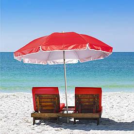 Зонт пляжный, садовый с защитой от UV-лучей с наклонным механизмом и чехлом EC-1206 (Красный)