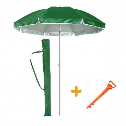Зонт пляжный, садовый 2.0м с защитой от UV-лучей, наклонным механизмом и чехлом EC-1407 (Зеленый)