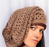 Вязанная шапка женская, берет с помпоном коричневый