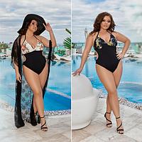 """Модный слитный женский купальник с цветами больших размеров """"Риа"""""""