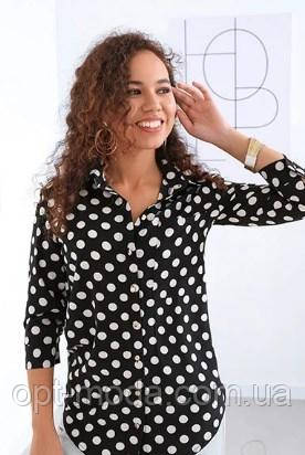 Рубашка женская в горох, софт, размер  42, 44, 46, 48, белый, черный