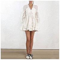 Платье женское белое с кружевом M