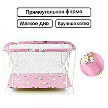Манеж Hello Kitty цвет розовый прямоугольный, мягкое дно, крупная сетка SKL11-224239