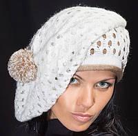 Вязанная шапка женская, берет с помпоном белый
