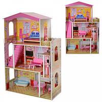 Детский игровой трехэтажный Деревянный домик для кукол с балконом, террасой и мебелью 74.5х117х30 см арт. 2008