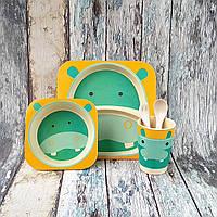 Набор детской посуды из бамбука - Гиппопотам