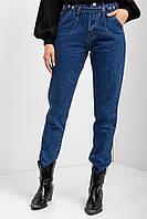 Синие осенние джинсы мом с высокой талией и заклепками