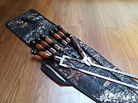 """Набор 6 шампуров """"LUX"""" + двойной шампур """"LUX"""" с деревянной ручкой + нож-вилка """"LUX, чехол-колчан (640х12х3 мм)"""