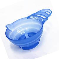 Парикмахерская профессиональная мисочка смешивания красок для волос голубая с ручкой