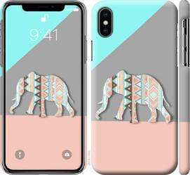 """Чехол на iPhone X Узорчатый слон """"2833c-1050-328"""""""