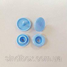 Кнопки пластикові кольорові для дитячого одягу і постільної білизни Т5 Ø 11,7 мм Блакитні (10 компл.)