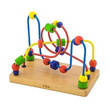 Детская игрушка пальчиковый лабиринт с деревянными бусинками для развития мелкой моторики рук Viga Toys