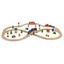 Детская игрушечная Железная дорога из дерева для детей от 3 лет Viga Toys набор из 49 деталей