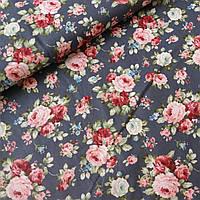 Хлопковый сатин розовые розы на сером, ш. 160 см