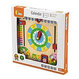 Развивающая игрушка для обучения для самых маленьких детей Часы и календарь Viga Toys, фото 2