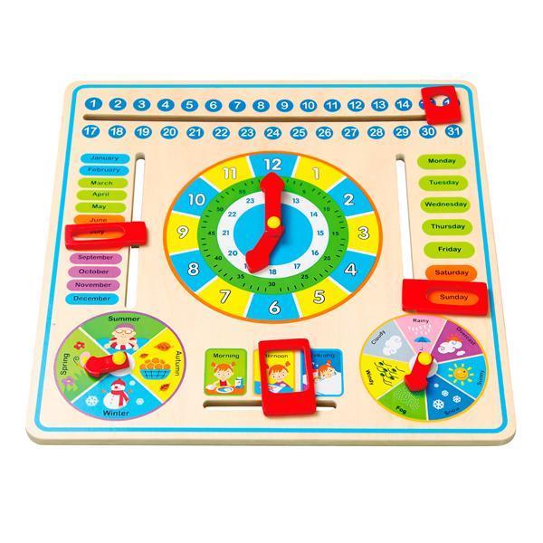 Развивающая игрушка для обучения для самых маленьких детей Часы и календарь Viga Toys