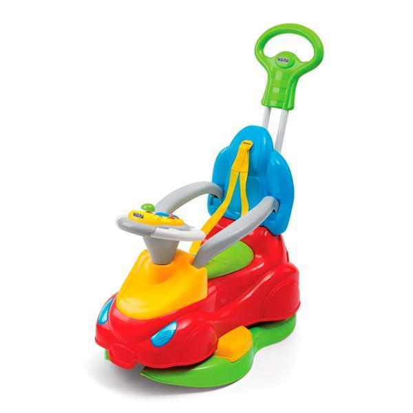 Машинка каталка 4 в 1 музыкальная с родительской ручкой с ремнями и поручнями безопасности Weina Делюкс