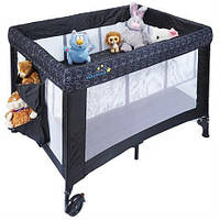 Манеж кроватка детский складной трансформер переносной с колесиками и сеткой с боковым лазом WonderkidsVoyager, фото 1