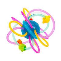 Игрушка погремушка грызунок прорезыватель для зубов младенцев с кольцами из мягкого пластика Hola Toys 1106A