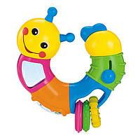 Игрушка погремушка детская для самых маленьких с колечками и звуковым эффектом Hola Toys Веселый червячок