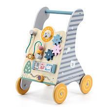 Каталка ходунки деревянные детские с бизибордом с часами с шестернями и бусинами на проволоке Viga Toys PolarB