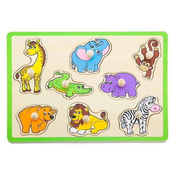 Пазл рамка вкладыш с животными деревянный для самых маленьких детей Viga Toys Дикие животные