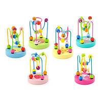 Детская игрушка пальчиковый лабиринт с деревянными бусинками для развития мелкой моторики рук Viga Toys 6 штук