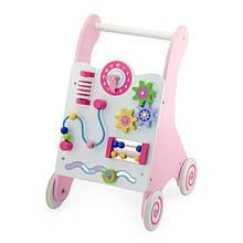 Ходунки каталка детские деревянные с игровой панелью бизибордом Viga Toys розовые