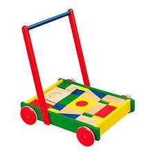 Ходунки каталка детская деревянная с резиновыми накладками на колесах Viga Toys Тележка с кубиками