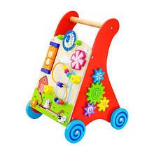 Каталка ходунки детская деревянная с бизибордом с резиновыми накладками на колесах Viga Toys