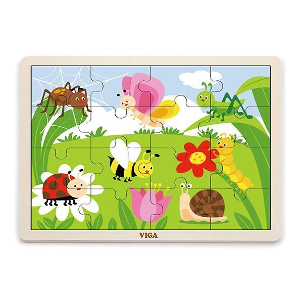 Деревянный пазл Viga Toys Насекомые, 16 элементов (51450)