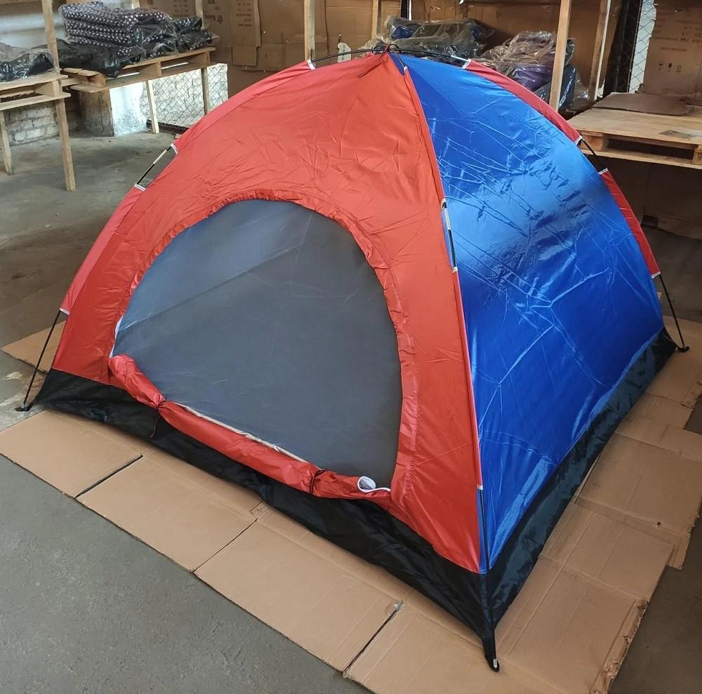 Палатка 3-местная водонепроницаемая туристическая для рыбалки пикника цвет Хаки (1-слойная 2мх2м полиэстер)