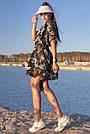 Черная туника на пляж короткая лен с цветочным принтом, фото 4