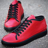 """Мужские кожаные кеды """"SM Red"""" красные с черной подошвой"""