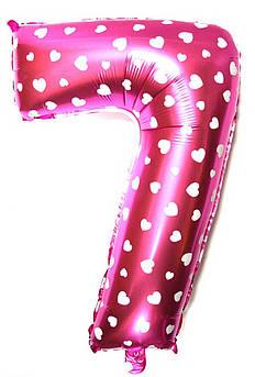 Фольгированный шарик цифра 7 Семь розовый сердечки Размер 65 см