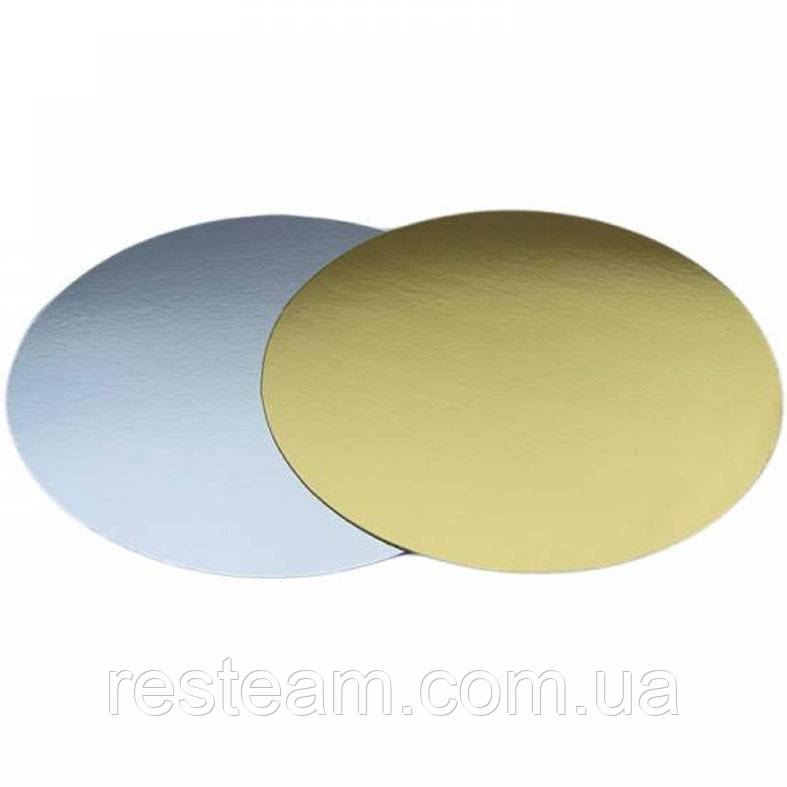 Підкладка для торта кругла 23 см золото-срібло