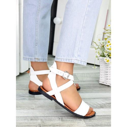 Жіночі босоніжки біла шкіра Афіна 7428-28