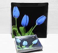"""Набір квадратних тарілок (6) + Страва """"Royal Opal"""" сині тюльпани бутон/чорний"""